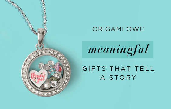 """Advertisement photo for Origami Owl showing a necklace from the brand that says """"Flower girl"""". Photo says """"Origami Owl meaningful gifts that tell a story""""."""