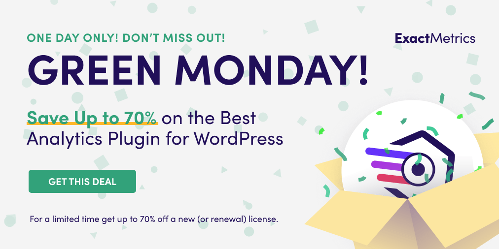 ExactMetrics, Green Monday, WordPress Plugin Sales