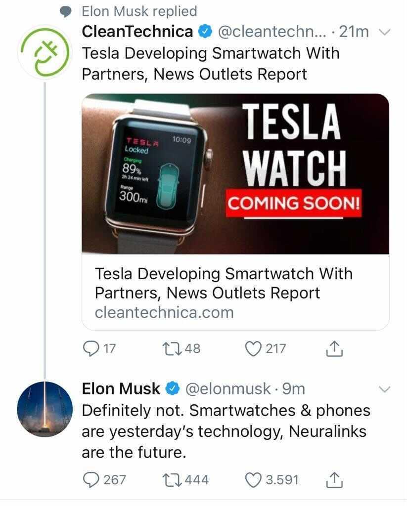 Elon Musk'tan değişik Tesla Watch yorumu 2