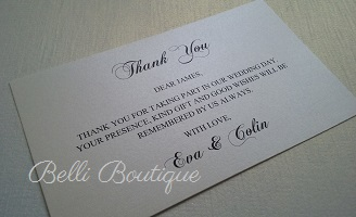 We Offer A Range Of Thank You Cards From Text Only To Embellished With Decorative Paper Ribbon And Buckles