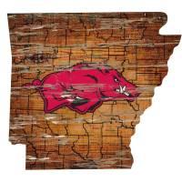 Arkansas Razorback State Map Wall Art Vintage Logo Sign ...