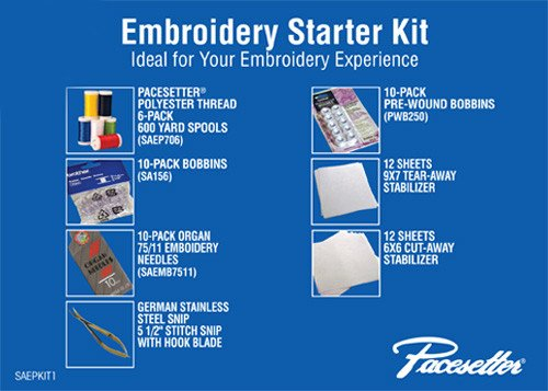 EMBROIDERY STARTER KIT contains 1 Polyester thread 6pack