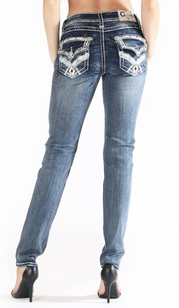Grace in LA Charme White Stitch Jeans  TheBlingBoxOnlinecom
