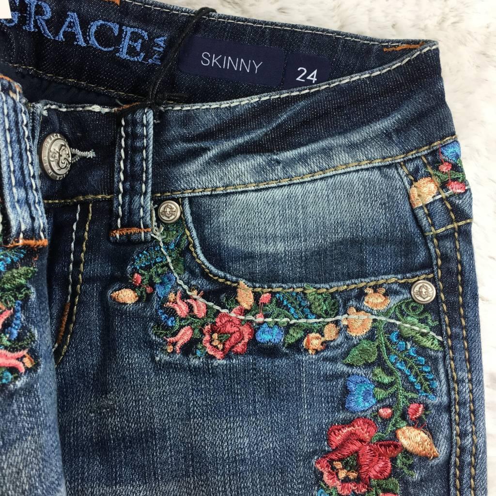 Grace in LA Skinny Rose Garden Embroidered Jeans