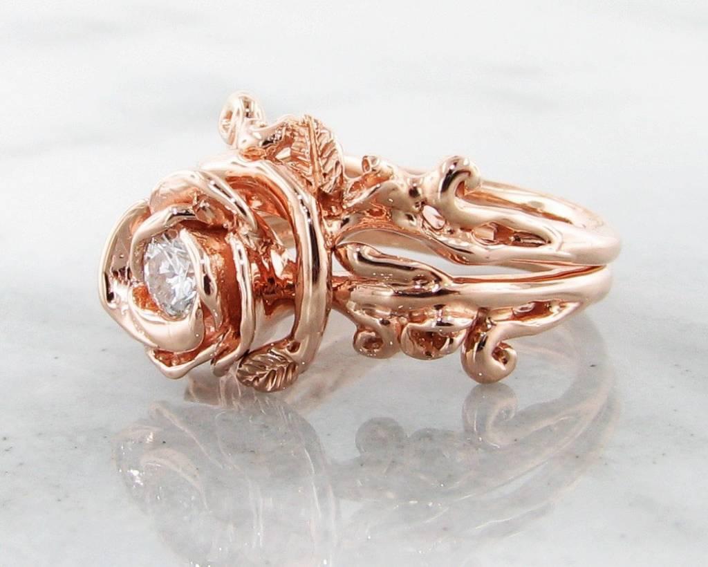Diamond Rose Gold Wedding Ring Set, Rose Garland