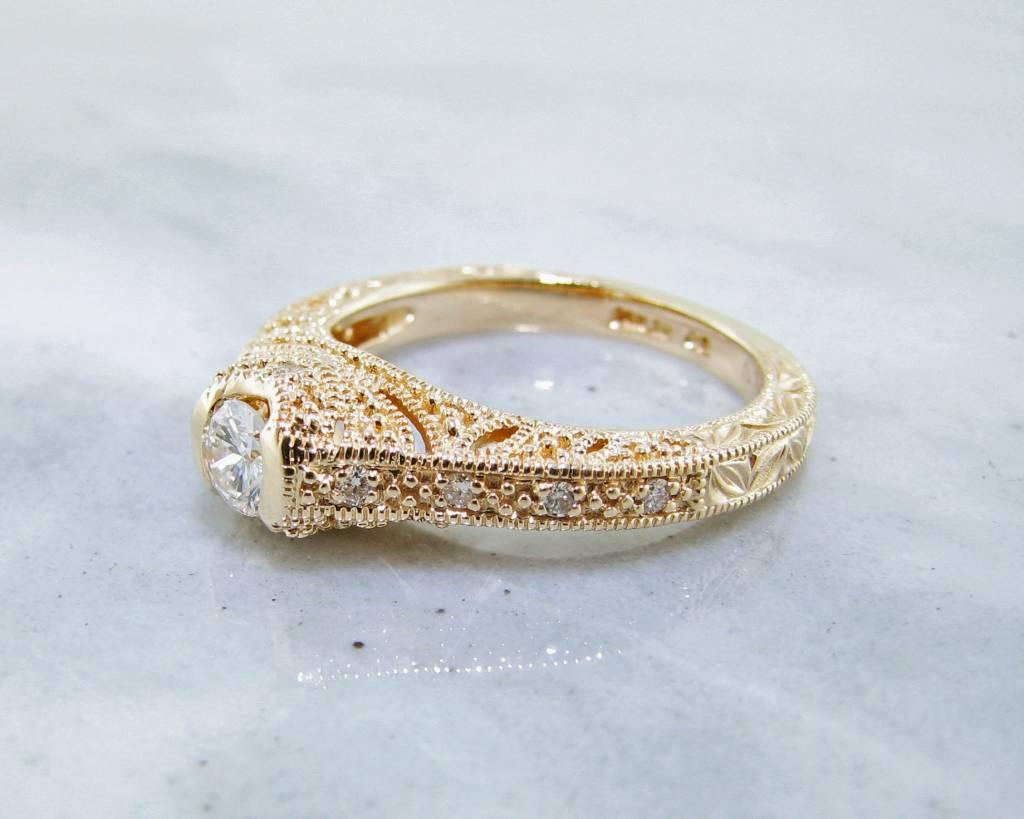 Diamond Yellow Gold Ring, Ornate Filigree