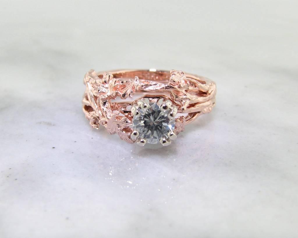 Diamond Rose Gold Wedding Ring Set, Maple Leaf