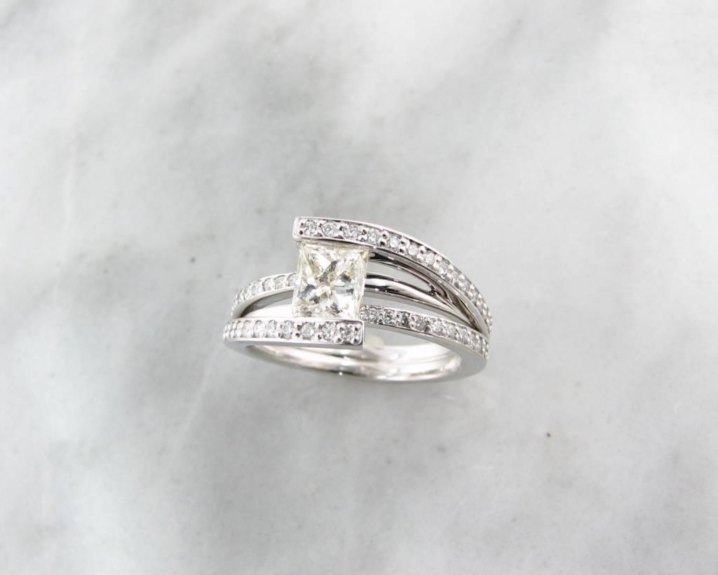 White Gold Princess Cut Diamond Wedding Ring,