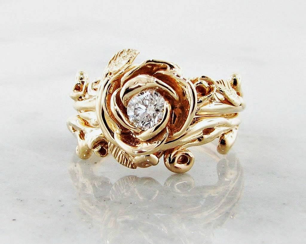 Diamond Yellow Gold Wedding Ring Set Rose Garland