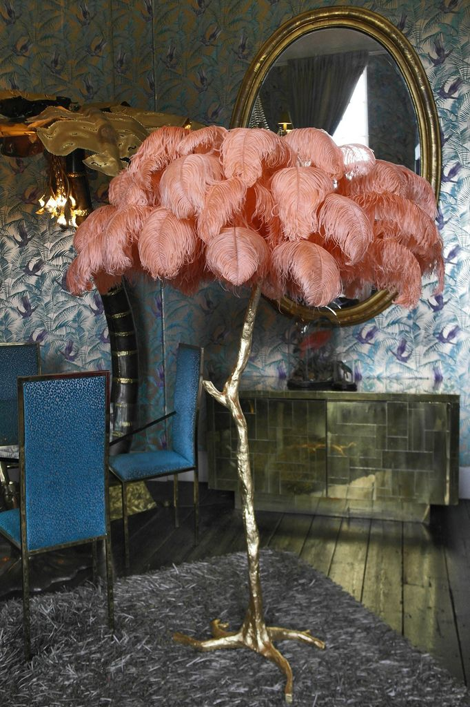 The Ostrich Feather Lamp with Brass Dipped Base  Becker Minty