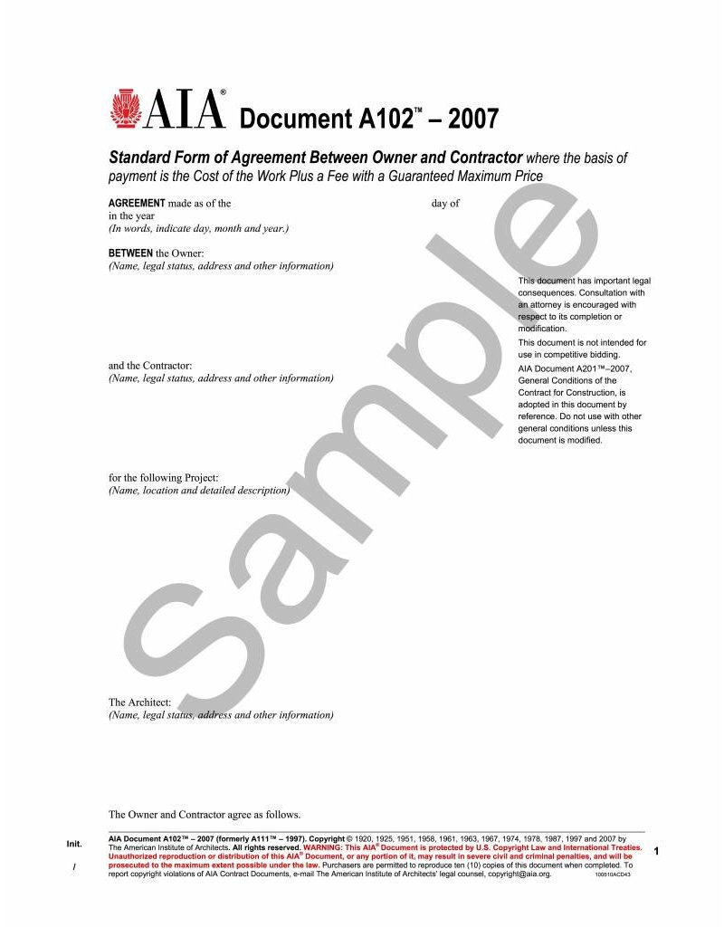 Graphic Design Freelance Contract Template With Architect  Aia Interior ...
