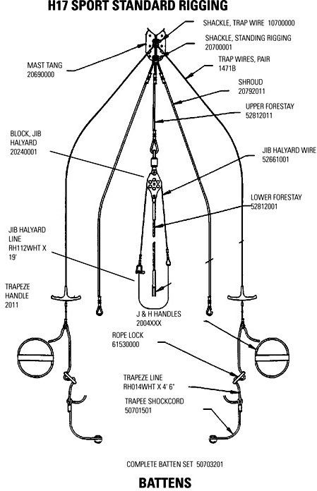 standing rigging diagram 2016 nissan frontier stereo wiring hobie 17 sport parts mariner sails
