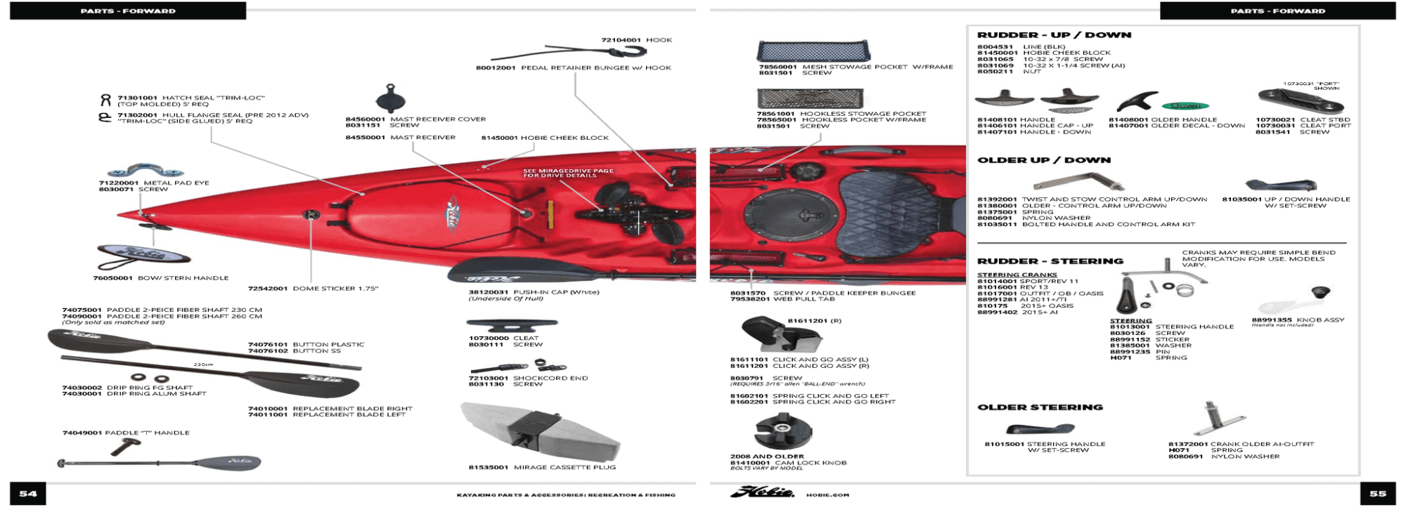 hight resolution of hobie mirage kayak parts all models except pro angler island series