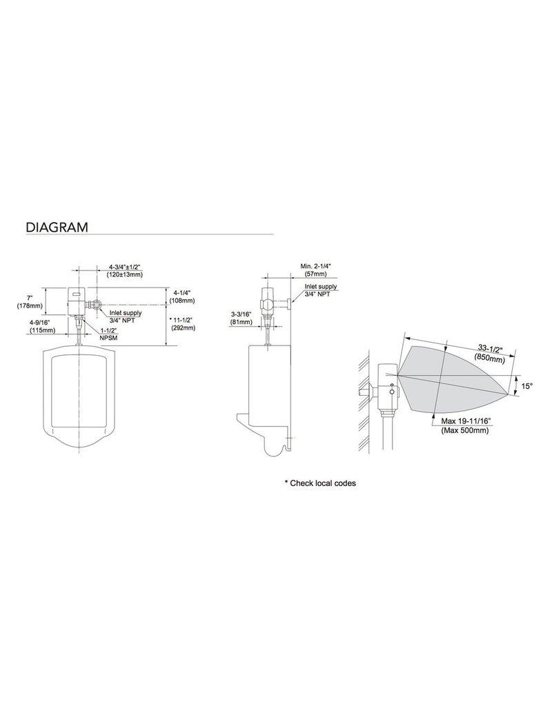 TOTO TEU1LA12 EcoPower High Efficiency Urinal Flush Valve