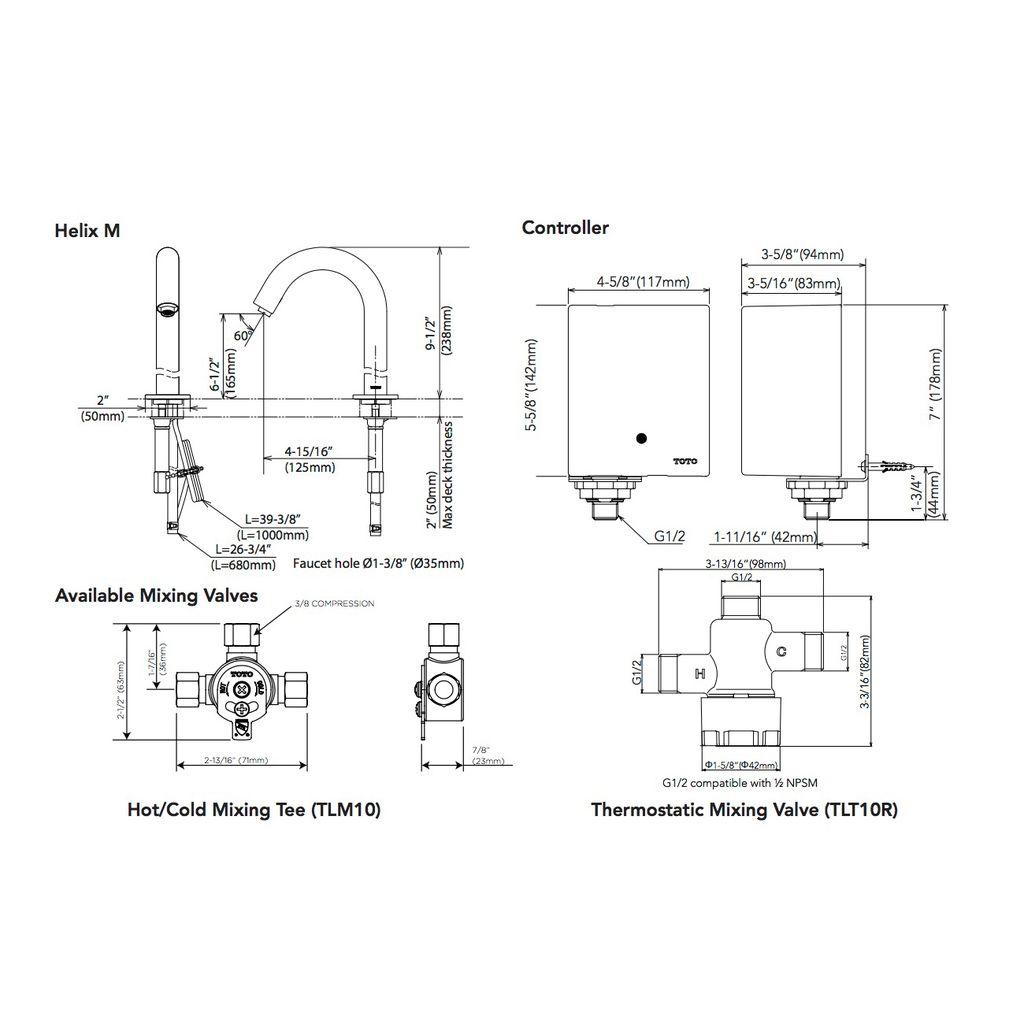Toto Tel121 D10e Helix M Ecopower Faucet 1 0 Gpm Chrome