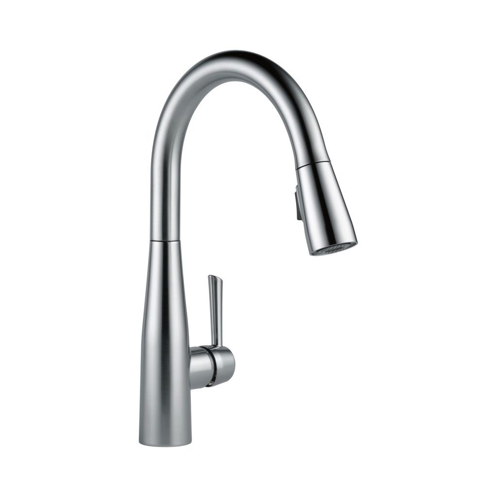delta savile stainless 1 handle pull down kitchen faucet gray wash cabinets 9113 essa single