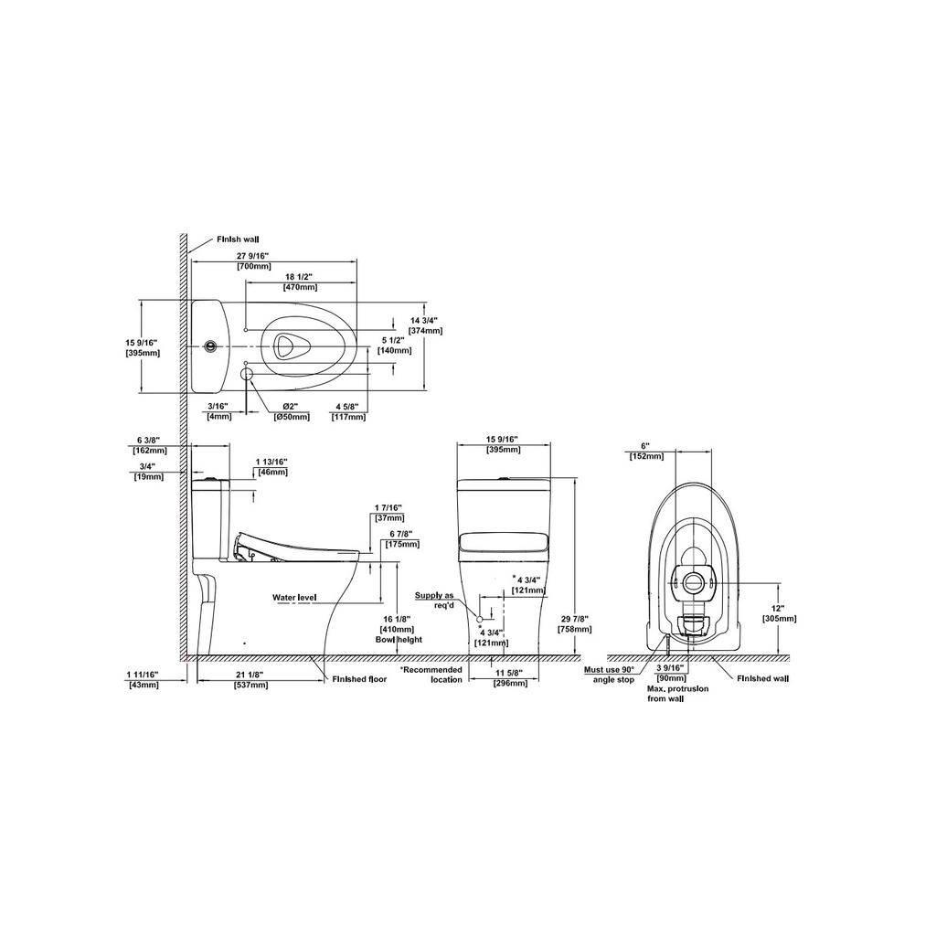 TOTO MW4463056CEMFG Aquia IV WASHLET S550e Two Piece