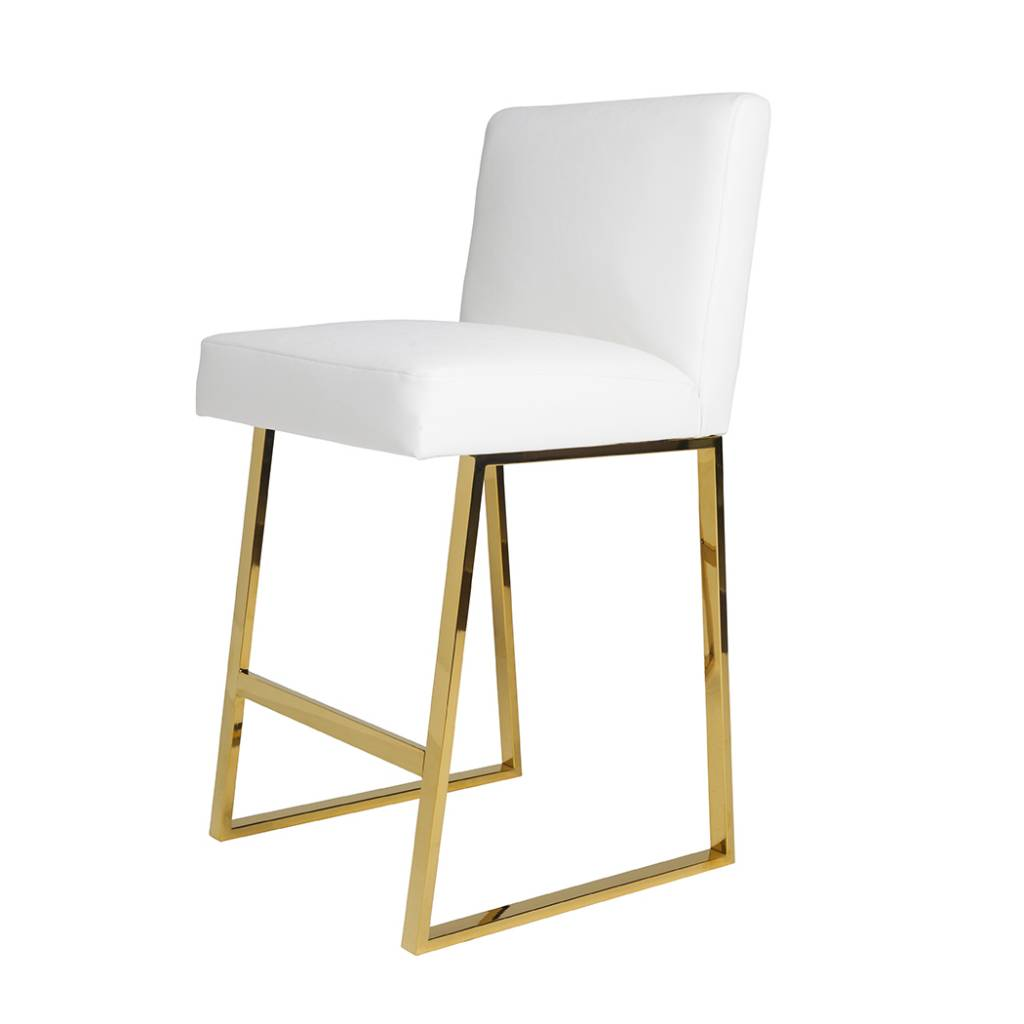 white leather bar chair vintage sewing linden barstool brass scout design studio