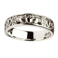 RINGS LADIES CLADDAGH & CELTIC KNOT DIAMOND SET WEDDING