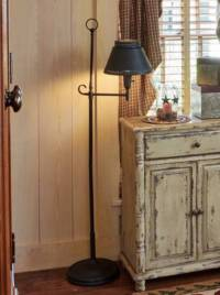 Antique Iron Floor Lamp with Shade Black - Country ...