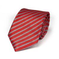 Red and Silver Stripe Seven Fold Tie - Burdi