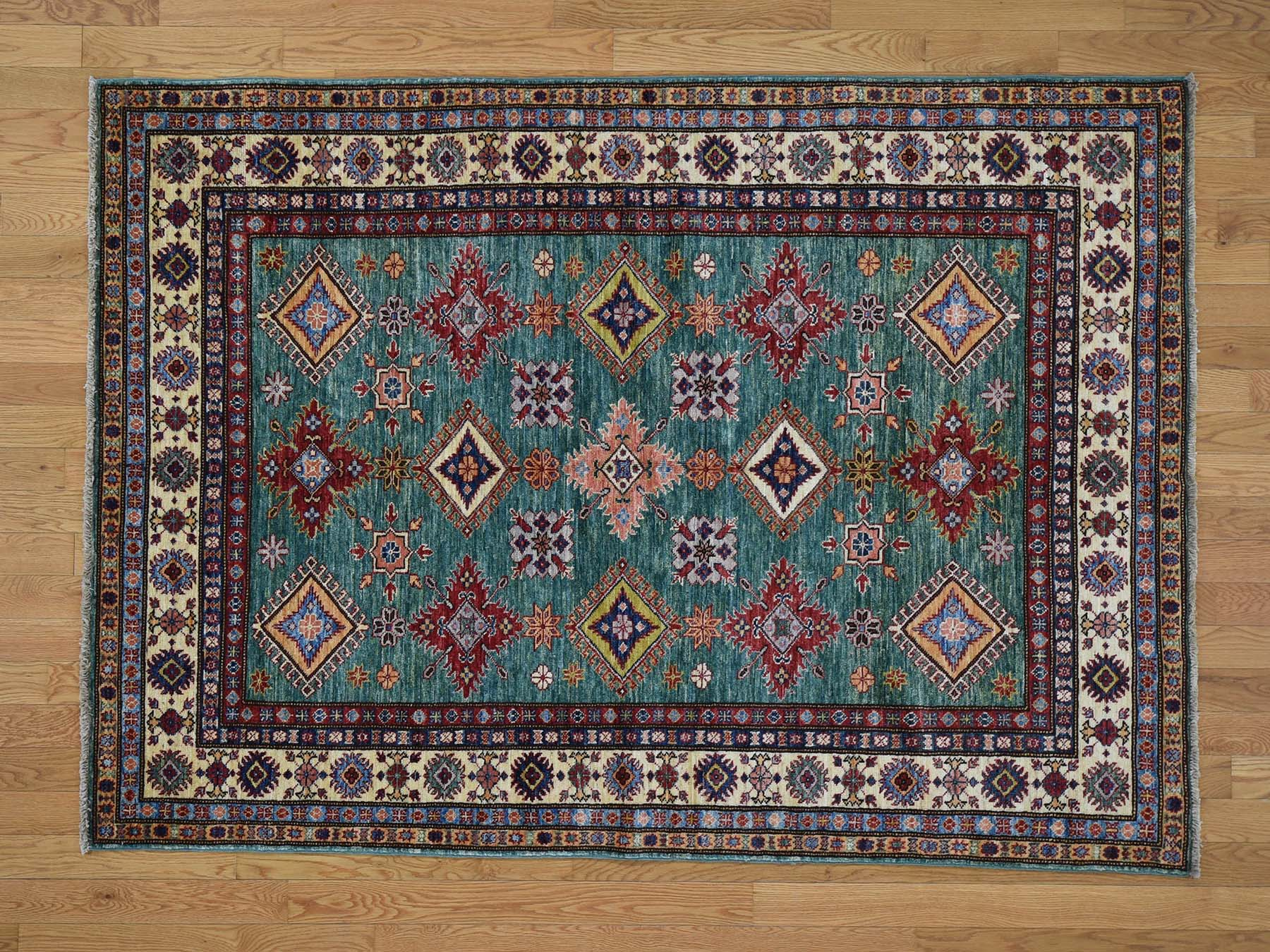 5 X7 Pure Wool Geometric Design Super Kazak Hand Knotted