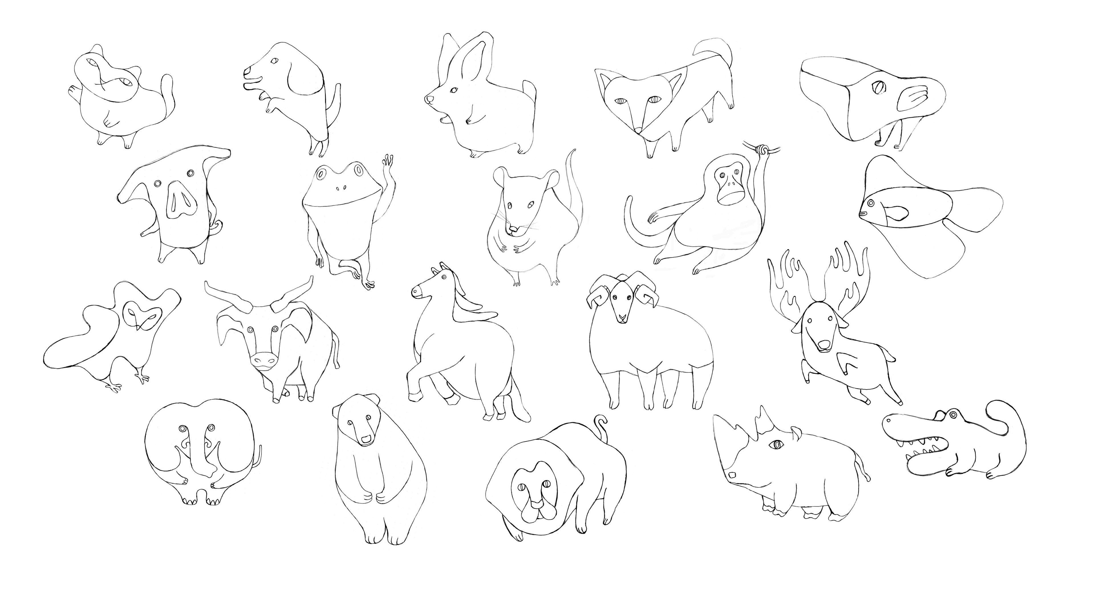 Character Doodle: Draw A Unique Animal Character in Simple