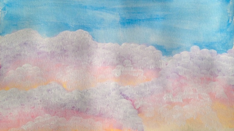 white cotton candy clouds