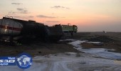 فرق المدني تخمد حريق شاحنة محملة بالديزل بالليث