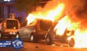 بالفيديو.. حريق في وسط باريس احتجاجا علي نتائج الانتخابات