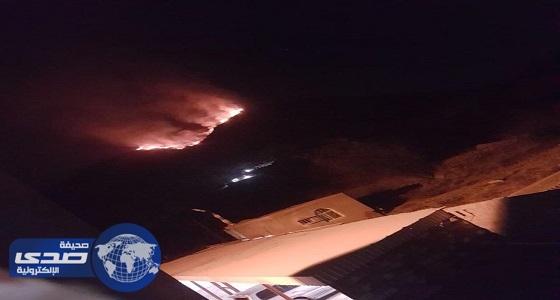 بالفيديو.. النيران تشتعل في أشجار جبل أثرب ببارق