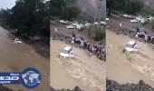 بالفيديو.. السيول تجرف مركبتين في تهامة قحطان