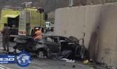 بالصور.. مصرع شخصين وإصابة آخر في حادث مروري بعقبة الباحة