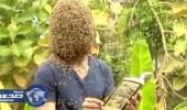 بالفيديو: شاب يٌغطي وجهه بـ 60 ألف نحلة للشعور بالراحة