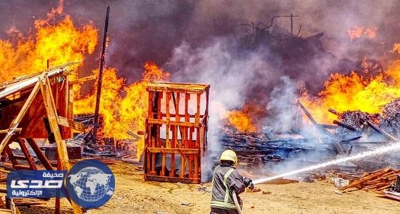 بالصور.. مدني مكة يسيطر على حريق طبليات جنوب جدة