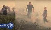 بالفيديو.. ملك الأردن يشارك في إخماد حريق غرب عمان