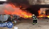 بالصور.. مدني الجوف يسيطر على حريق مستودعين بسكاكا