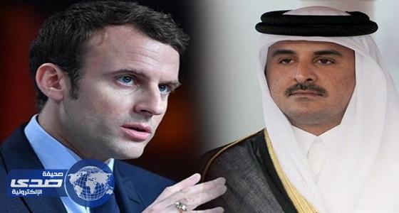 ماكرون يؤكد في اتصال مع «تميم» أهمية وقف تمويل الإرهاب