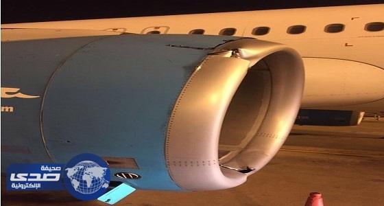 """بالصور.. أثار اصطدام منطاد بـ """" طائرة الجزيرة الكويتية """""""
