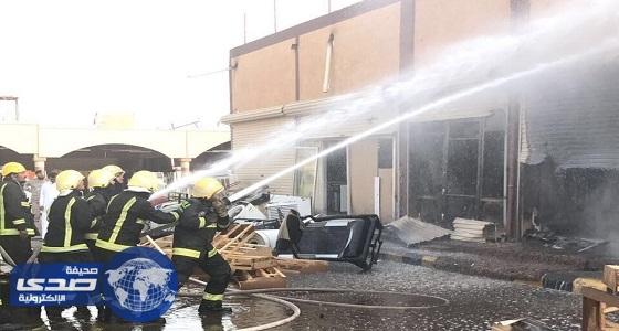 بالصور.. السيطرة علي حريق في محال تجارية بتبوك