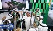 """بالفيديو.. الشريان يؤدي """" العرضة """" على الهواء مباشرة احتفالا باليوم الوطني"""