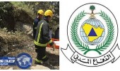 الدفاع المدني ينقذ شاباً بعد سقوطه في جبل الميل قيس بعسير
