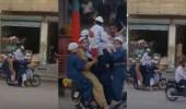 بالفيديو.. 11 شخصاً يركبون دراجة في مشهد غريب