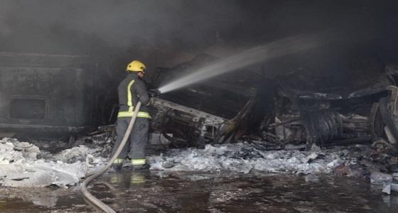 بالصور.. السيطرة على حريق في موقع لصيانة المعدات بالرياض