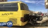 بالصور.. وفاة وإصابات في حادث بين باص طالبات وسيارة بالباحة