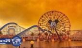 """النيران تغير منظر """" ديزني لاند """" في كاليفورنيا"""