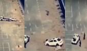 بالفيديو.. امرأة تصدم سيارة زوجها خلال تعلم القيادة