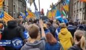 بالفيديو.. مظاهرات في اسكتلندا تضامناً مع شعب كتالونيا