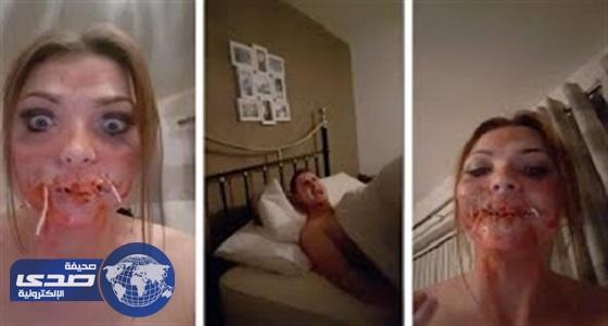 بالفيديو.. فتاة تنفذ مقلب مرعب في زوجها