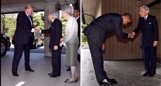 """"""" ترامب """" يتعلم من خطأ """" أوباما """" ويحيي إمبراطور اليابان دون انحناء"""